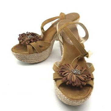 銀座かねまつ カネマツ サンダル ヒール フラワーコサージュ 靴 くつ クツ サイズ37 約24.5cm レディース 婦人雑貨 女性 管理RY16002432
