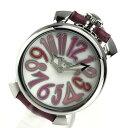 GAGA MILANO ガガミラノ 5020.6 マヌアーレ40 ユニセックス 腕時計 クォーツ 白文字盤 2針 ピンク レザーブレス 型押し 管理YK20001486