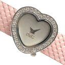 D&G ドルガバ 腕時計 クォーツ シルバー文字盤 2針 ハート型 レザーベルト ピンク バングル ブレスレット ブランド 管理RY20004666