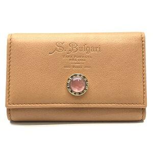 BVLGARI ブルガリ キーケース キーリング 6連 レザー 鍵 収納 ピンク 色石 ブラウン 茶色 メンズ レディース ブランド 管理RY21000978