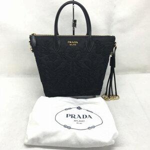 未使用的PRADA Prada 2017年新产品2018年7月购买的Nylon 2WAY手提包刺绣花线迹Black Black Ladies management RM9436