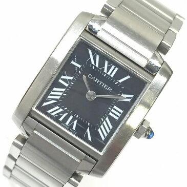 CARTIER カルティエ タンクフランセーズSM W51026Q3 2384 黒文字盤 ローマンインデックス レディースクオーツ 腕時計 定番人気 管理YI10514