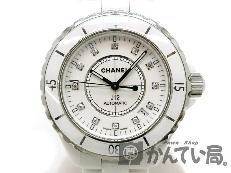 a2dc04757124 CHANEL H1629 J12 【中古】 セラミック 12Pダイヤモンド OH済 腕時計 【シャネル】 ステンレス/ メンズ