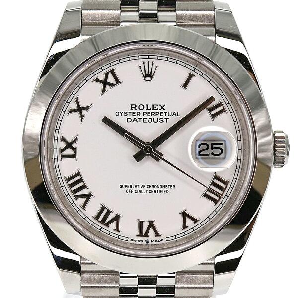 ROLEX ロレックス デイトジャスト411263002021年4月購入ホワイトローマ腕時計メンズ自動巻きステンレスランダム番新