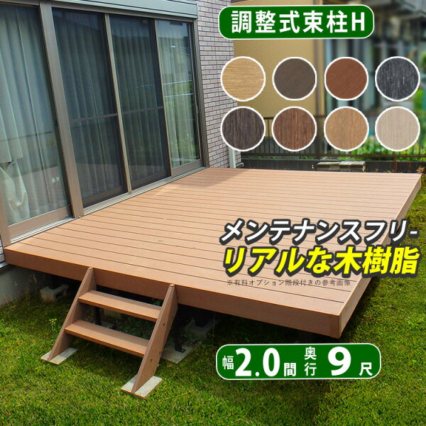 ウッドデッキ樹脂人工木 調整式束柱H 間口2.0間(3.6m)×出幅9尺(2.7m)2間×9尺DIYセットウッドパネル腐らないお