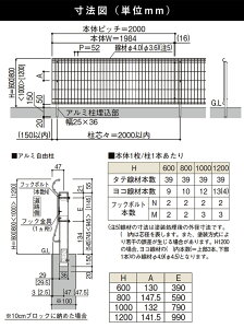 シンプルメッシュフェンス3送料無料人気のメッシュフェンス寸法図
