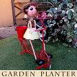 かわいいブリキの人形/置物 フラワーポット/オブジェ/花台/鉢植え/プランター ガーデニング・園芸雑貨 ナチュラル ギフトにもおすすめ 高さ52cm 自転車 女の子 イエロー