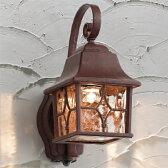 玄関照明 外灯 ポーチライト LED照明 照明器具 LED一体型 ハンドメイドのポーチ灯 人感センサー付 アンティーク色