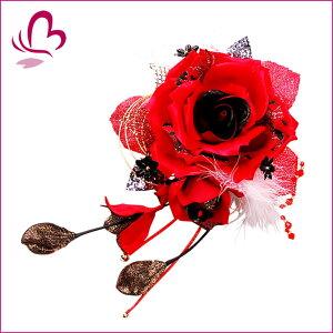 【大き目花かんざし/マリアローズ】1580r 赤 レッド 大輪 花 髪飾り 卒園式 ヘアアクセサリー ...