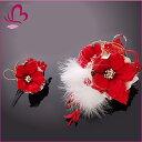 【髪飾り 成人式 振袖】 花かんざし2点セット 赤 レッド 大きい ハナミズキ 【卒業式の袴 和装の結婚式 七五三や浴衣、着物に】