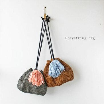 毛糸蔵かんざわオリジナルキット57 樹皮もどきで編む巾着バッグ 【KN】 星野真美デザイン glitt 編み物キット