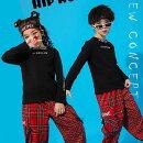 送料無料チェック柄スウェットTシャツチェックパンツダンス衣装ヒップホップキッズセットアップかっこいいダンス衣装キッズダンス派手ストリートキッズダンス衣装男女兼用トップス+パンツダンスウェア110120130140150160170180cm