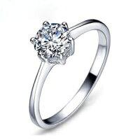 セール価格!レディースシルバー指輪シルバーリング6本爪一粒大人の輝き女性彼女指輪レディースアクセサリージルコニア925純銀プラチナ(メール便可)