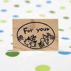 tugumi ラバースタンプ ねこと鳥「For you」 縦24mm×横34mm (0002B-3040)