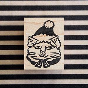ゆめはんこ ラバースタンプ 猫の三太さん 縦36.5mm×横26mm (0027B-4030)