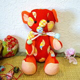 【和柄ぬいぐるみ】【クマのお人形】和風ちりめんテディベアA赤色てまり柄和雑貨和柄ぬいぐるみくまお人形