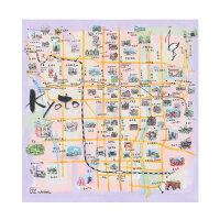 ポリエステルの風呂敷|京都地図ふろしき|70cm|唐草屋
