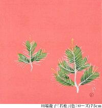 【送料無料+桐箱付】絹の風呂敷川端龍子・若松(色:ローズ)75cm唐草屋