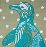 綿のふろしき kaaroシリーズ「AFRICA」ミナミノユメ(ペンギン)70cm(ベージュ×ターコイズ) 風呂敷専門店・唐草屋