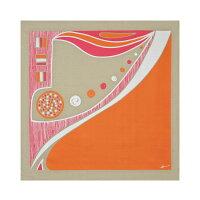 綿の風呂敷|kaaroシリーズ「kotka(コトカ)」(オレンジ×ベージュ)90cm|唐草屋