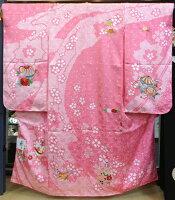 四つ身ピンク絞りまりと花