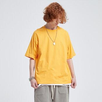 Tシャツメンズコットン無地シンプルプリントトップスドロップショルダーロング丈
