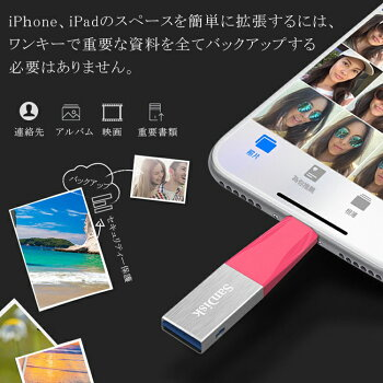 128GBSanDiskサンディスクiXpandMiniフラッシュドライブLightningコネクタ搭載USB3.0USBメモリー海外リテールSDIX40N-128G-PN6NESDIX40N-128G-GN6NDSDIX40N-128G-GN6NG