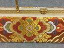 234-送料無料 振袖用バック 古典柄が上品な一点物です。オレンジ地に古典柄で織られた帯地を使用している艶やかで豪華な逸品です。成人式 卒業式 結婚式などのフォーマルシーンにおすすめ。日本製 正絹です。 2