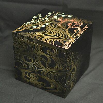 重箱 おしゃれ 日本製重箱3段 6寸 5~6人用 香琳 黒内朱 北市漆器