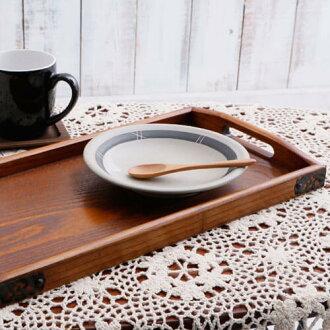 因為托盤盤木製長距離盤咖啡托盤(附帶金屬零件)39*21cm美麗的木紋整潔所以來客時便利的托盤盤托盤木製砰樹