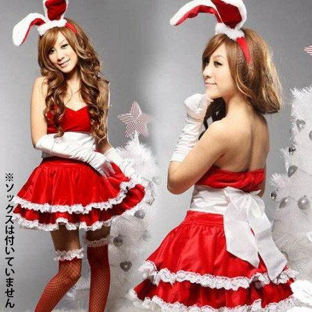ハロウィンクリスマスコスプレ衣装サンタ風バニーガール(cos5)【RCP】