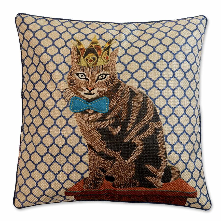 クッションカバー 45×45cm 【キティコレクション】 刺繍 ショートヘアー クイーン キング 猫柄 猫グッズ 猫雑貨 アニマル おしゃれ かわいい