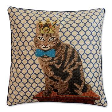 クッションカバー 45×45cm 【キティコレクション】 刺繍 選べる3型 (ショートヘアー / クイーン / キング) 猫グッズ 猫雑貨 アニマルクッション おしゃれ かわいい