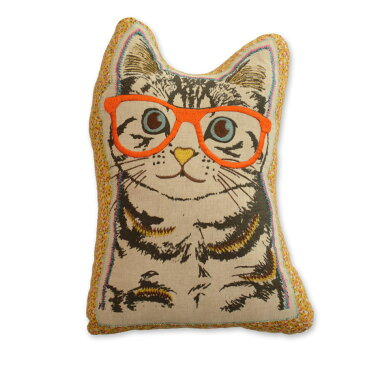 クッション 猫型 【キティコレクション】 刺繍 中材入り 選べる2型 (ショートヘアー / ペルシャ) 猫グッズ 猫雑貨 アニマルクッション おしゃれ かわいい