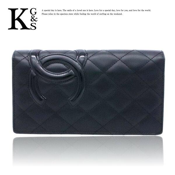 【ギフト品質】シャネル/CHANEL カンボンライン 二つ折り長財布 レディース カーフ ブラック×ピンク A26717