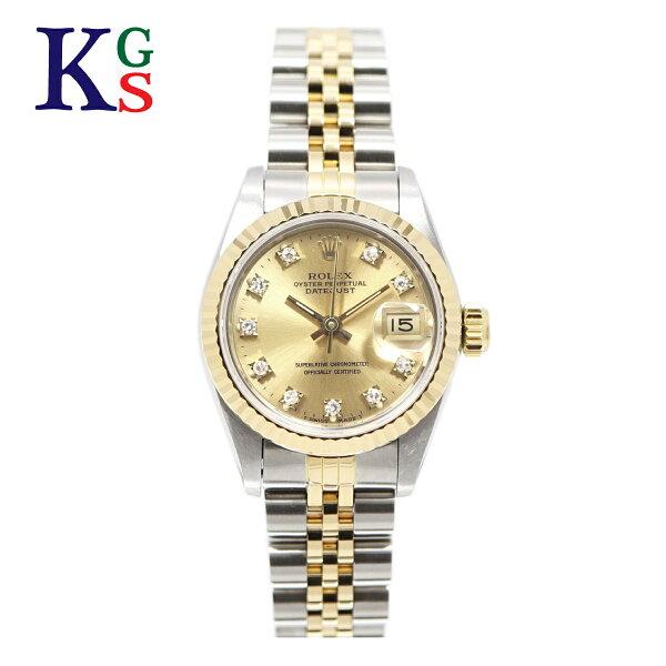 ギフト品質  SPECIAL梱包 ロレックス/ROLEXレディース腕時計デイトジャストシルバーxゴールドコンビ10Pダイヤモン