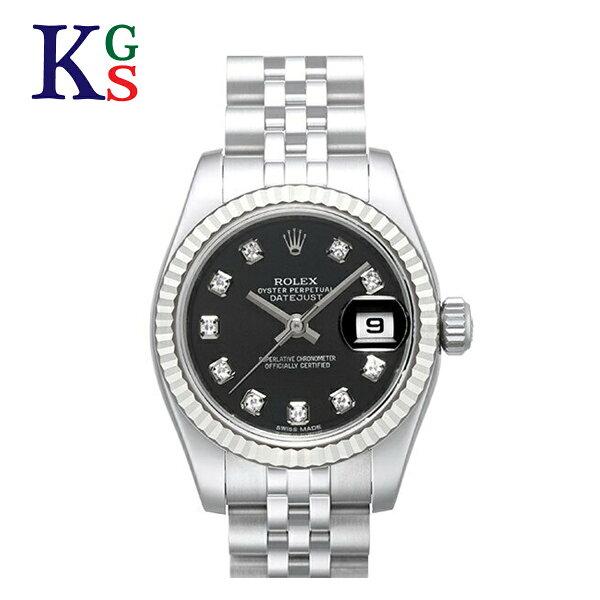 ギフト品質  SPECIAL梱包 ロレックス/ROLEXレディース腕時計デイトジャストブラック文字盤10Pダイヤホワイトゴール