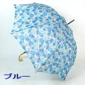 【送料無料】レディースジャンプ雨傘長:超軽量!オーガンジーアンブレラ「フーガ」の透明感がおしゃれな女性用雨晴兼用雨傘長〜パステル画風のマーガレット花柄が綺麗でUV加工済☆ノーブランドでも高品質な日本製!