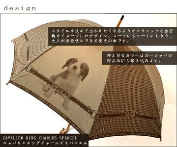 【送料無料】おしゃれな男性女性兼用雨傘~高級傘甲州織のキャバリエ犬がかわいいメンズ&レディース雨晴兼用傘長です☆UVカット加工!プライベートブランド:cucciolo(クチロ)~