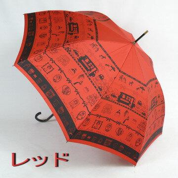 【レビューで送料無料!】レディース雨傘長:mimiPINSON(ミミ・パンソン)の「パリジェンヌの休日」がおしゃれな雨傘長(ジャンプ傘