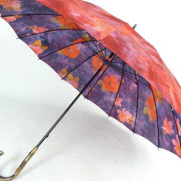 【送料無料!】レディース雨傘長:両面転写プリントの花柄がおしゃれで、16本骨が上品☆趣きある造りの日本製!新田商店