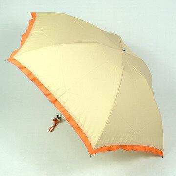 【レビュー書いて送料無料】雨傘折:縁フリルがかわいいツートンカラーがシンプルな軽量のレディース雨傘(折りたたみ傘ミニ3段式)リーズナブルな女性用ブランド傘:VOUScouturier(ヴィ・クチュリエ)☆