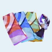 スカーフシルクレディースおしゃれ日本製「幾何柄デザイン」ブランド:FiorituraGiovanna(フィオリトゥーラジョバンナ)オーロラ社絹100%プチロングスカーフ【RCP】