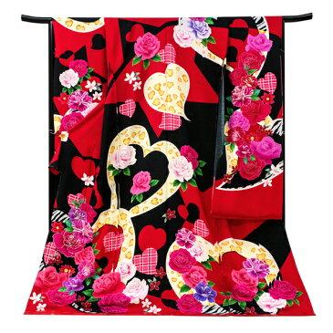 【Sun Bunny】振袖 仕立て付き 新品 販売 購入 黒 赤 薔薇 ハート スワロフスキー 正絹 未仕立て フォーマル 成人式 卒業式 着物 仕立て込み 大衆演劇 ブランド アウトレット 在庫処分 振袖フルセット f-284