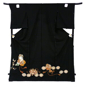 Hand-painted Kyo-Yuzen black Tomesode full-order hand-sewn with tailoring New Ebisu Ebisu Seven Lucky Gods silk wedding dress Kimono tailored unfinished anti-stock inventory disposal kt-90