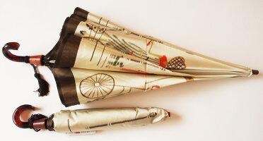 【パリの自転車】モンブランヤマグチほぐし織り(二段折畳傘)※現在のバージョンは地色がもう少し濃くゴールドベージュ系になっております