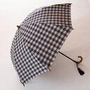 WAKAO【晴雨兼用折畳傘】ギンガムストリーム(47cm折)(ウインド・ネイビー)詩情豊かな大人のギンガムチェックタッセル付 心斎橋みや竹オリジナル仕様店主おすすめ ワカオ UVカット日傘