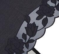 婦人つえ傘【Mサイズ】ばらあど(ブラック)親骨55cm/全長約78.5cm/UVカット晴雨兼用※とも生地の外袋はございません