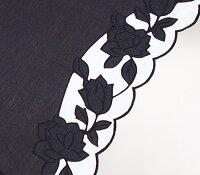 婦人つえ傘【Mサイズ】ばらあど(ブラック&ホワイト)親骨55cm/全長約78.5cm/UVカット晴雨兼用※とも生地の外袋はございません