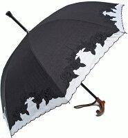 婦人つえ傘【Lサイズ】ばらあど(ブラック&ホワイト)親骨60cm/全長約83.5cm/UVカット晴雨兼用※とも生地の外袋はございません